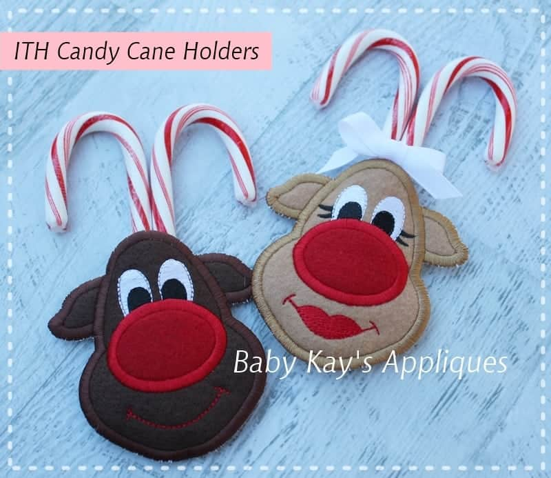 In The Hoop Reindeer Candy Cane Holders Baby Kay S Appliques